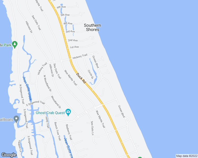 map of restaurants, bars, coffee shops, grocery stores, and more near 24 Periwinkle Place in Kitty Hawk