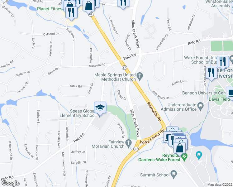 map of restaurants, bars, coffee shops, grocery stores, and more near 1831 Quantum Lane in Winston-Salem
