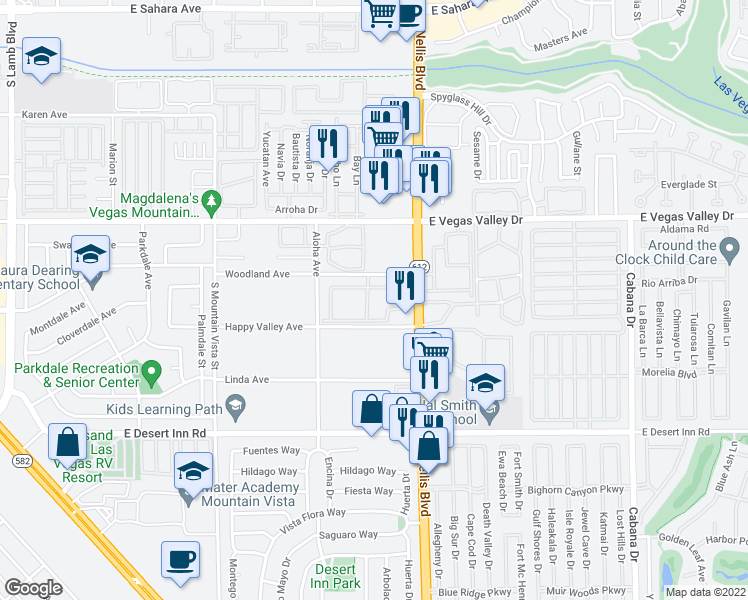 map of restaurants, bars, coffee shops, grocery stores, and more near 3055 South Nellis Boulevard in Las Vegas