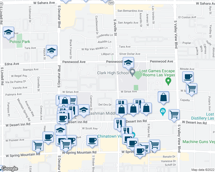 map of restaurants, bars, coffee shops, grocery stores, and more near 4480 West Sirius Avenue in Las Vegas