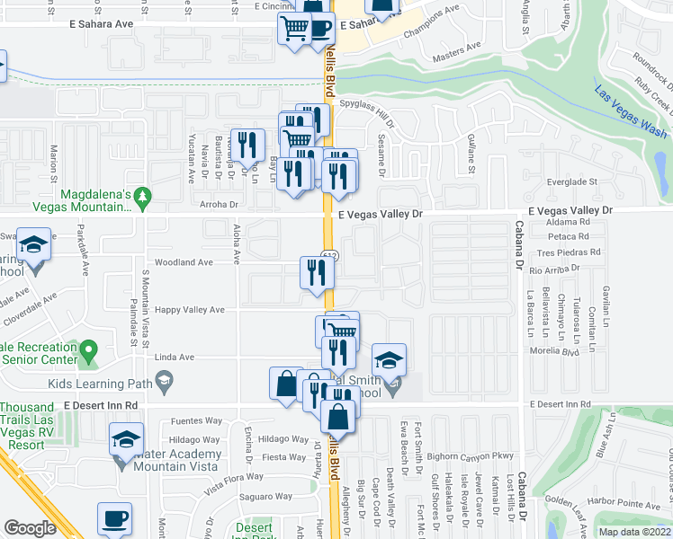 map of restaurants, bars, coffee shops, grocery stores, and more near 3050 South Nellis Boulevard in Las Vegas