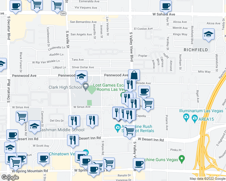 map of restaurants, bars, coffee shops, grocery stores, and more near 3909 Hartford Place in Las Vegas