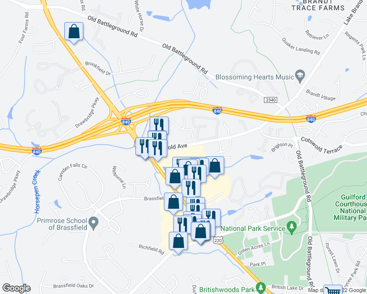 map of restaurants, bars, coffee shops, grocery stores, and more near 3928-3942 Cotswold Avenue in Greensboro