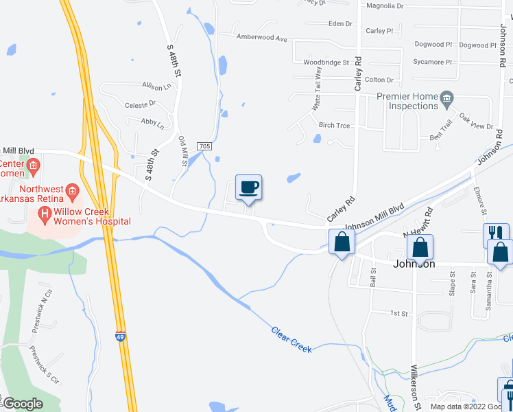 map of restaurants, bars, coffee shops, grocery stores, and more near 3632 Johnson Mill Boulevard in Springdale