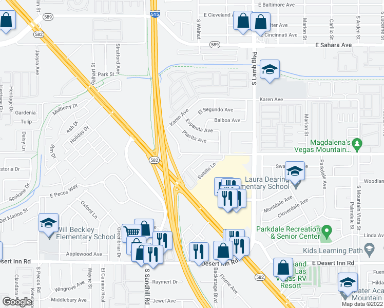 map of restaurants, bars, coffee shops, grocery stores, and more near 3905 East Vegas Valley Drive in Las Vegas
