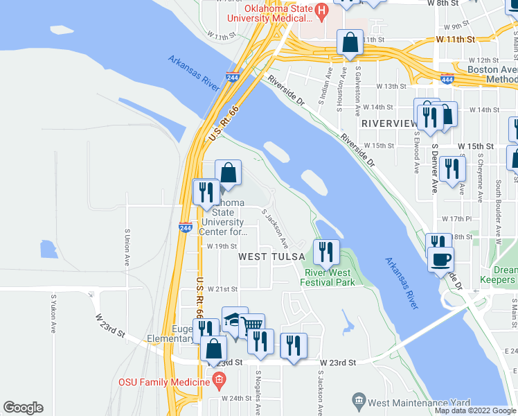 map of restaurants, bars, coffee shops, grocery stores, and more near 1715 South Jackson Avenue in Tulsa