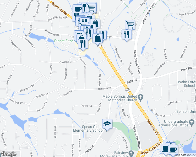 map of restaurants, bars, coffee shops, grocery stores, and more near 2646 Wyman Road in Winston-Salem