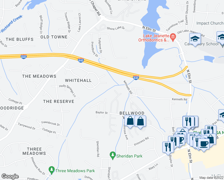 map of restaurants, bars, coffee shops, grocery stores, and more near 9 Thames Court in Greensboro