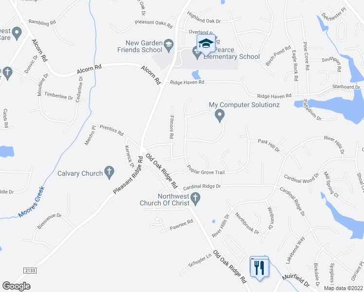 map of restaurants, bars, coffee shops, grocery stores, and more near 7200 Poplar Grove Trail in Greensboro