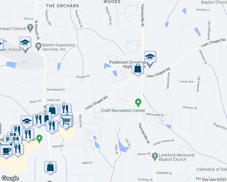 map of restaurants, bars, coffee shops, grocery stores, and more near 1370 Lees Chapel Road in Greensboro