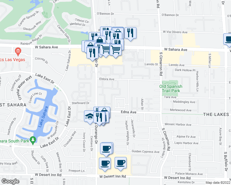 map of restaurants, bars, coffee shops, grocery stores, and more near 2750 South Durango Drive in Las Vegas