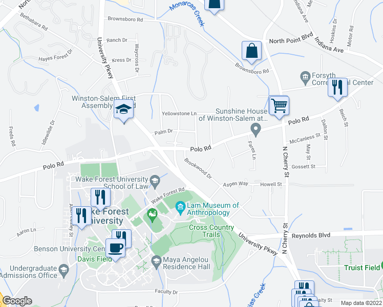 map of restaurants, bars, coffee shops, grocery stores, and more near 810 Polo Road in Winston-Salem