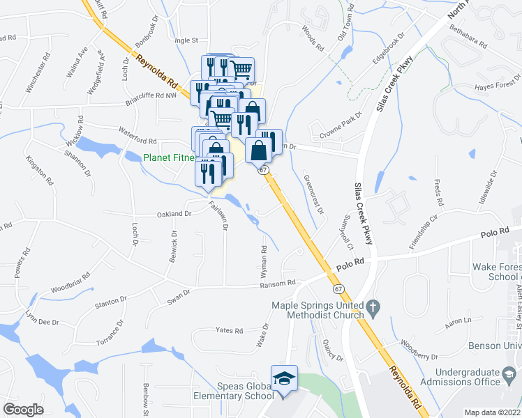 map of restaurants, bars, coffee shops, grocery stores, and more near 2700 Reynolda Road in Winston-Salem