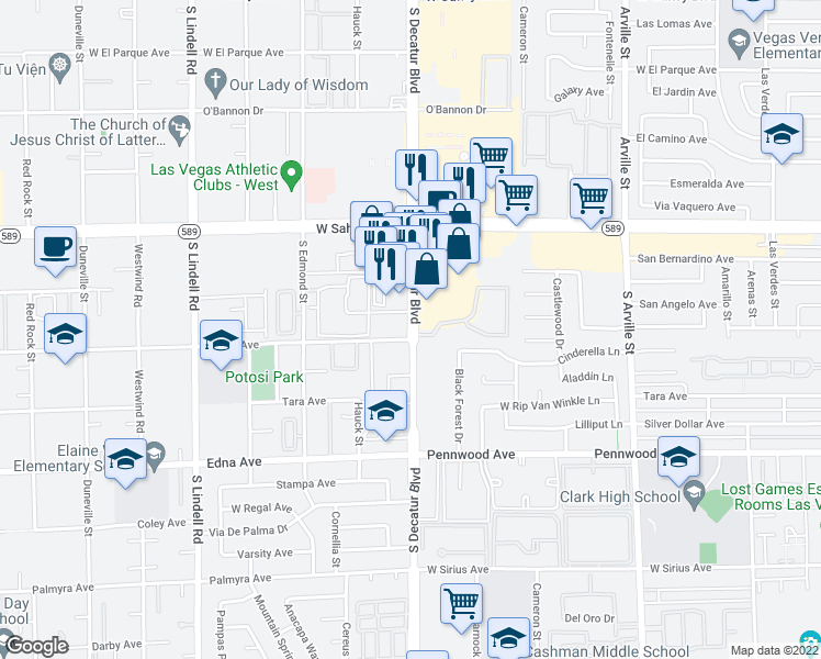 map of restaurants, bars, coffee shops, grocery stores, and more near 2664 South Decatur Boulevard in Las Vegas
