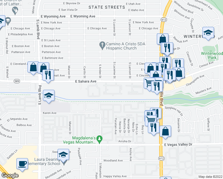 map of restaurants, bars, coffee shops, grocery stores, and more near 4701 East Sahara Avenue in Las Vegas