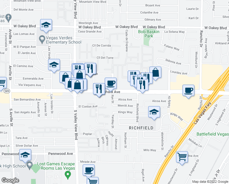 map of restaurants, bars, coffee shops, grocery stores, and more near West Sahara Avenue in Las Vegas