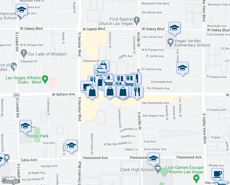 map of restaurants, bars, coffee shops, grocery stores, and more near 4545 West Sahara Avenue in Las Vegas