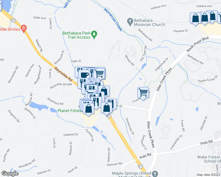 map of restaurants, bars, coffee shops, grocery stores, and more near 1517 Old Town Road in Winston-Salem