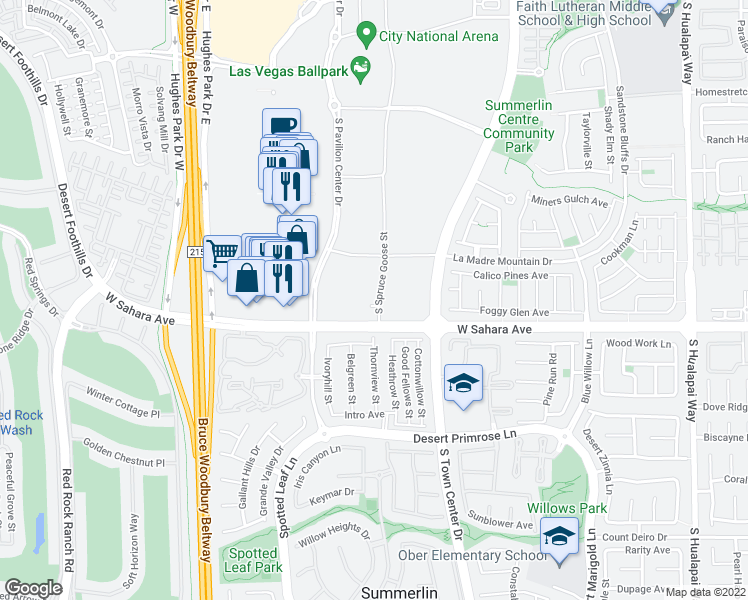 map of restaurants, bars, coffee shops, grocery stores, and more near 2375 Spruce Goose Street in Las Vegas