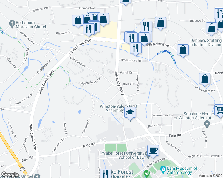 map of restaurants, bars, coffee shops, grocery stores, and more near 1110 Cypress Circle in Winston-Salem