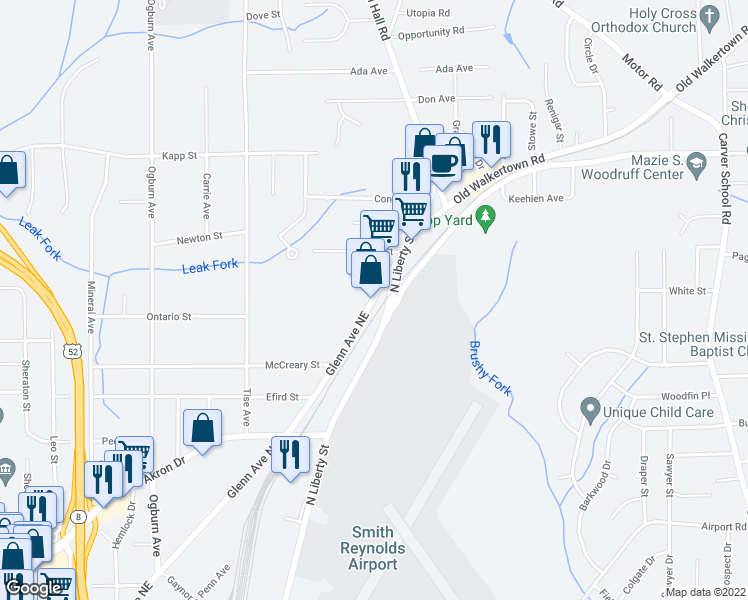 map of restaurants, bars, coffee shops, grocery stores, and more near 2812 North Glenn Avenue in Winston-Salem