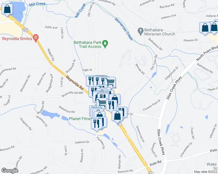 map of restaurants, bars, coffee shops, grocery stores, and more near Columbine Drive in Winston-Salem