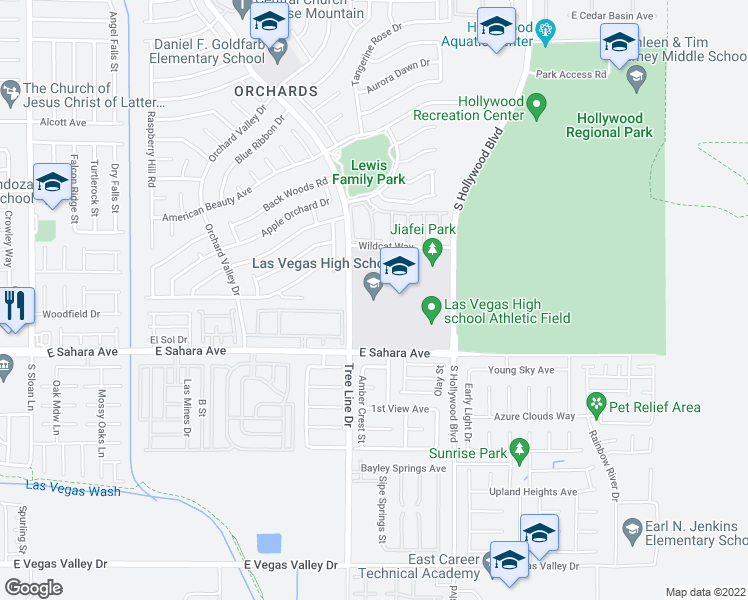 map of restaurants, bars, coffee shops, grocery stores, and more near 6500 East Sahara Avenue in Las Vegas