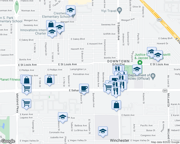 map of restaurants, bars, coffee shops, grocery stores, and more near 2109 Moore Street in Las Vegas