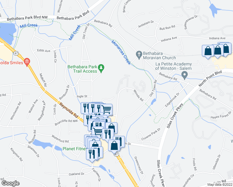 map of restaurants, bars, coffee shops, grocery stores, and more near 133 Echo Glen Drive in Winston-Salem