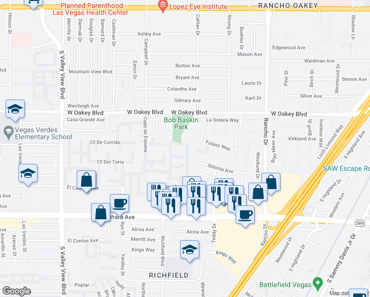 map of restaurants, bars, coffee shops, grocery stores, and more near 2900 El Camino Avenue in Las Vegas