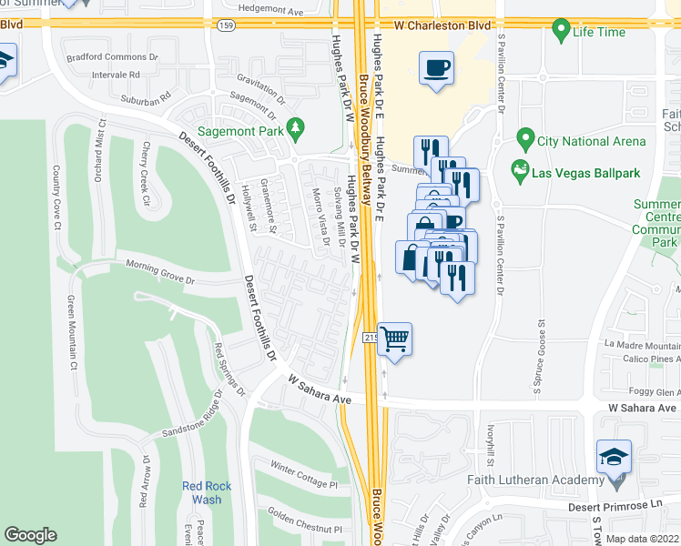 map of restaurants, bars, coffee shops, grocery stores, and more near 11218 Corsica Mist Avenue in Las Vegas