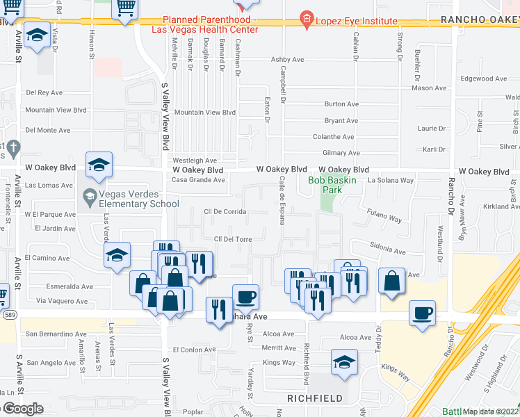 map of restaurants, bars, coffee shops, grocery stores, and more near 3216 Plaza De Rafael in Las Vegas