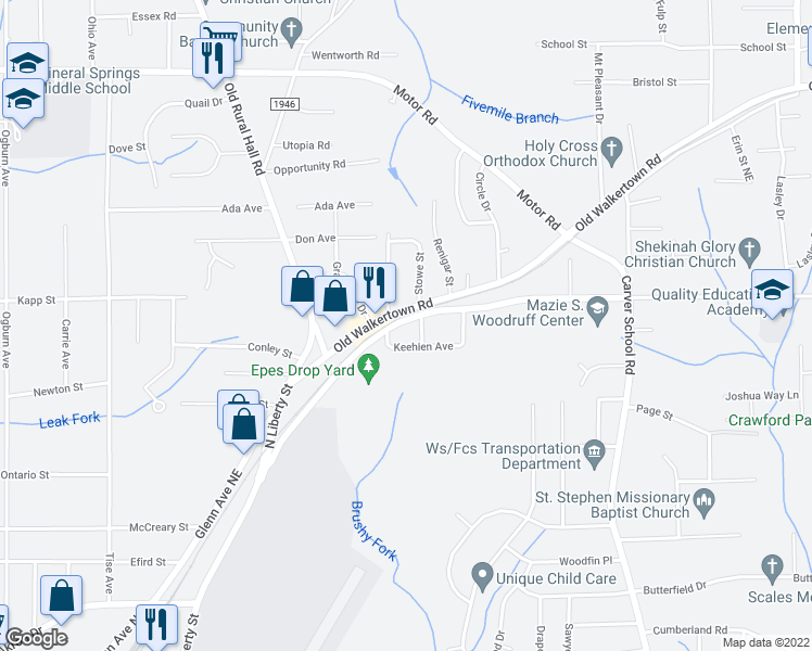 map of restaurants, bars, coffee shops, grocery stores, and more near 4509 Lansing Drive in Winston-Salem