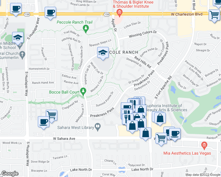 map of restaurants, bars, coffee shops, grocery stores, and more near 9517 Scenic Sunset Drive in Las Vegas