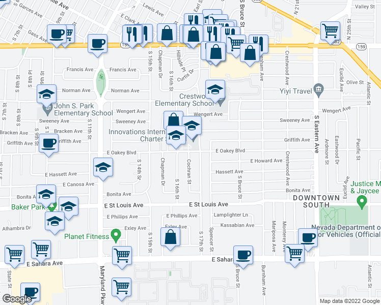 map of restaurants, bars, coffee shops, grocery stores, and more near 1701 Cochran Street in Las Vegas