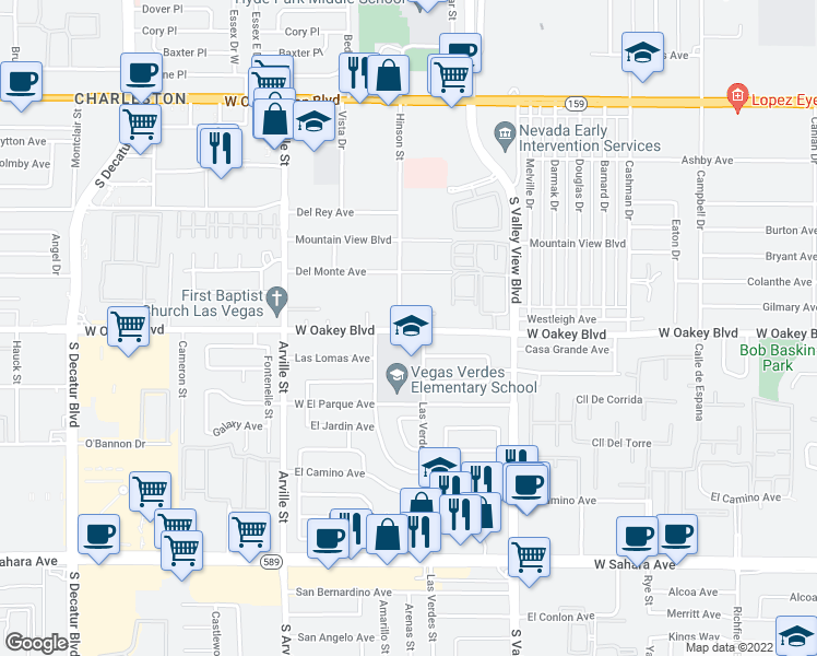 map of restaurants, bars, coffee shops, grocery stores, and more near 3900 West Oakey Boulevard in Las Vegas