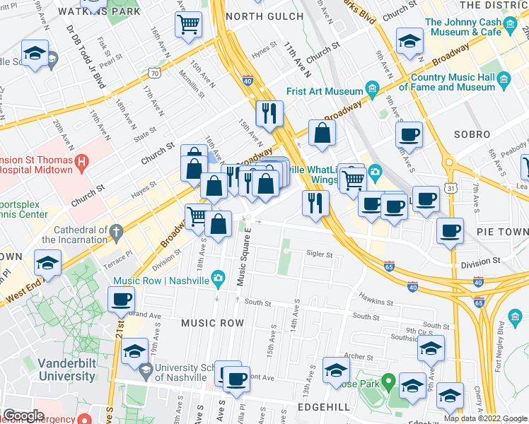 map of restaurants, bars, coffee shops, grocery stores, and more near 1515 Demonbreun Street in Nashville