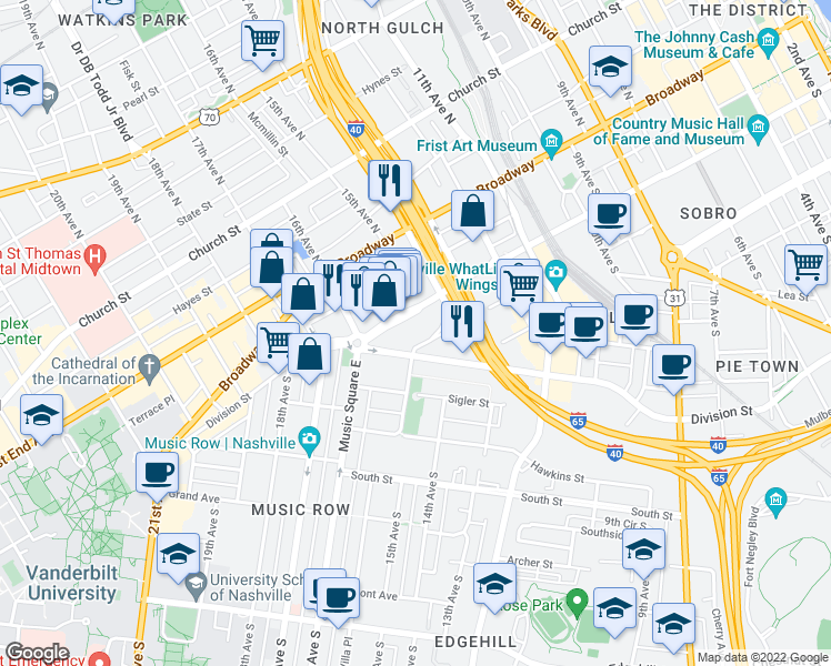 map of restaurants, bars, coffee shops, grocery stores, and more near 1516B Demonbreun Street in Nashville