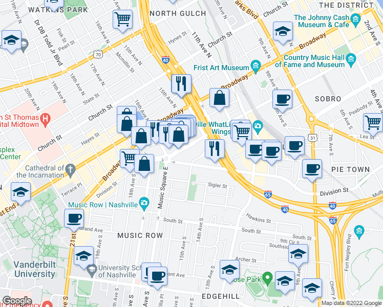 map of restaurants, bars, coffee shops, grocery stores, and more near 1505 Demonbreun Street in Nashville