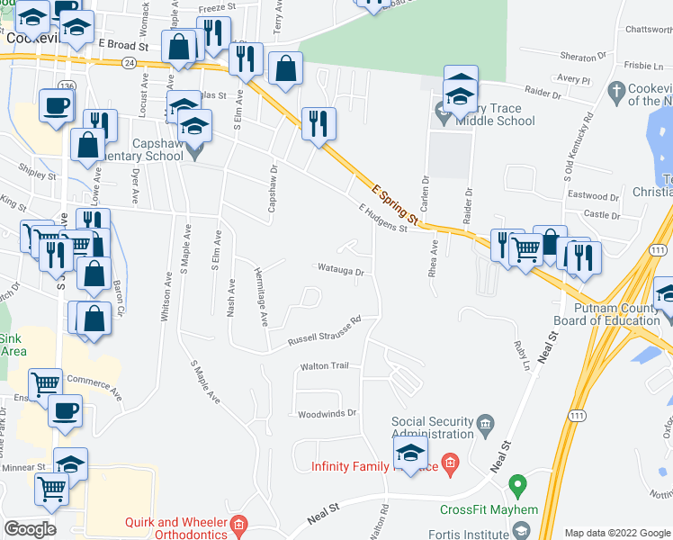 map of restaurants, bars, coffee shops, grocery stores, and more near 1247 Pleasant View Drive in Cookeville
