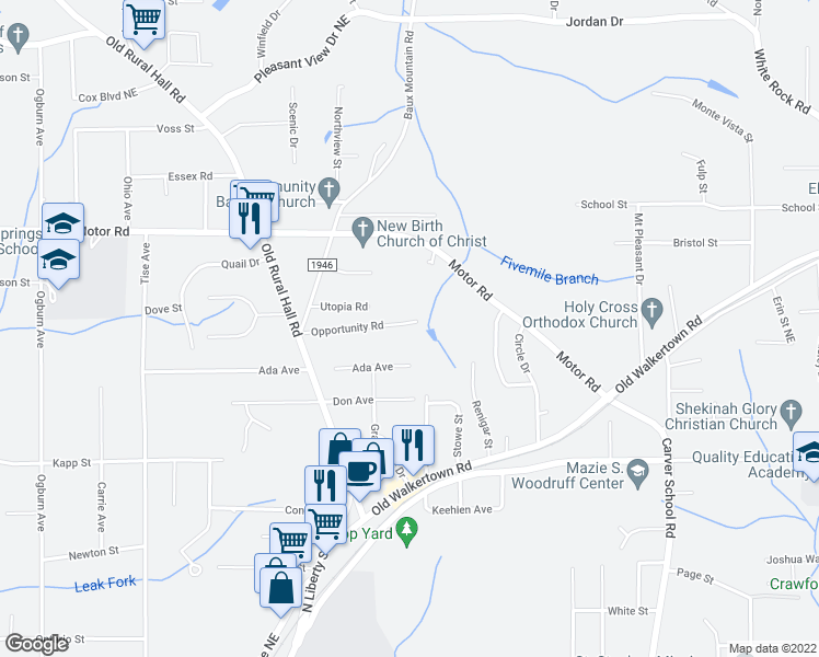 map of restaurants, bars, coffee shops, grocery stores, and more near 1294 Opportunity Road in Winston-Salem