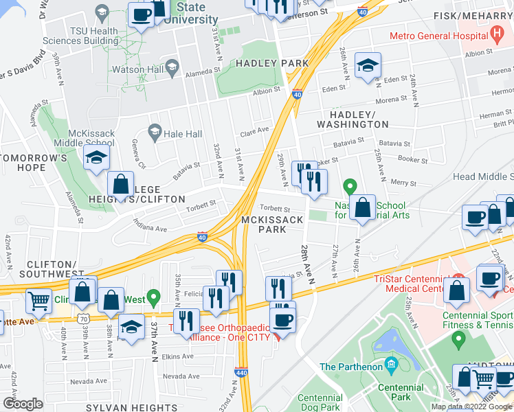 map of restaurants, bars, coffee shops, grocery stores, and more near Torbett Street in Nashville