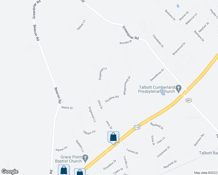 map of restaurants, bars, coffee shops, grocery stores, and more near 600 Ronald Drive in Talbott