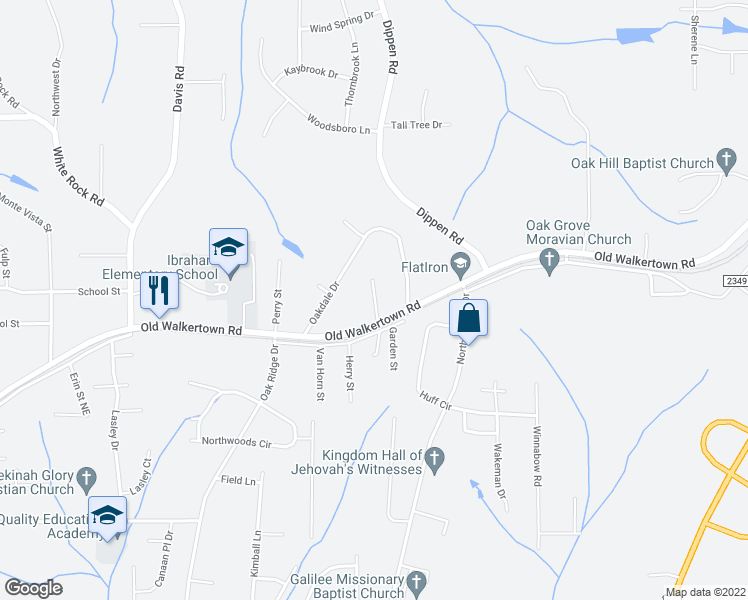 map of restaurants, bars, coffee shops, grocery stores, and more near Maxwell Road in Winston-Salem