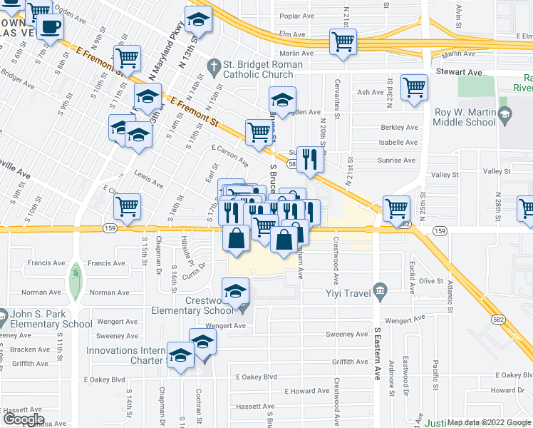 map of restaurants, bars, coffee shops, grocery stores, and more near 1730 Lewis Avenue in Las Vegas