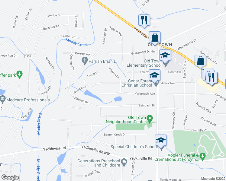 map of restaurants, bars, coffee shops, grocery stores, and more near 4019 Yarbrough Avenue in Winston-Salem