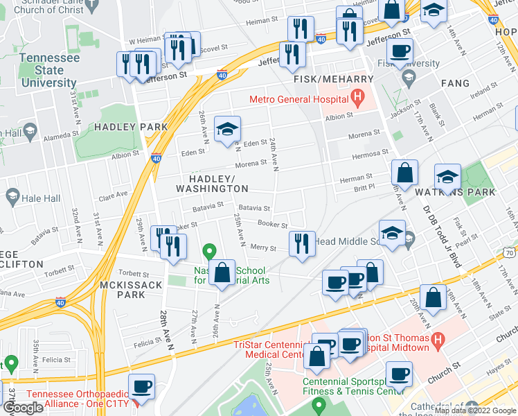 map of restaurants, bars, coffee shops, grocery stores, and more near 2409 Herman Street in Nashville