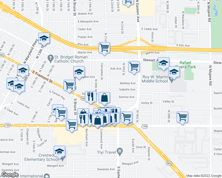 map of restaurants, bars, coffee shops, grocery stores, and more near 127 North 21st Street in Las Vegas