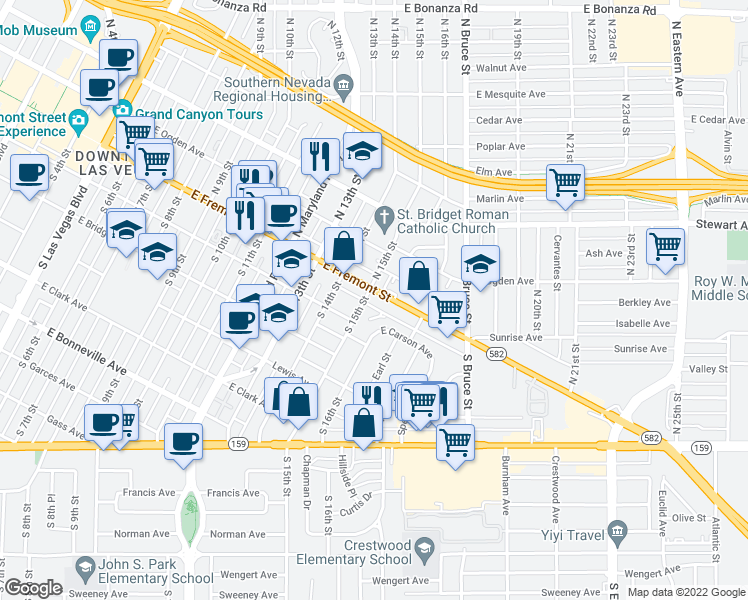 map of restaurants, bars, coffee shops, grocery stores, and more near 1500 Fremont Street in Las Vegas