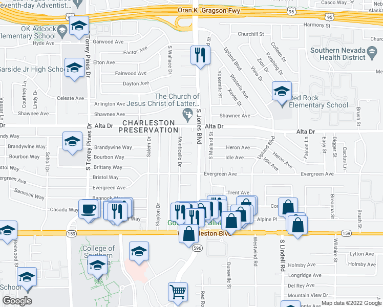 map of restaurants, bars, coffee shops, grocery stores, and more near Alamo Cir in Las Vegas